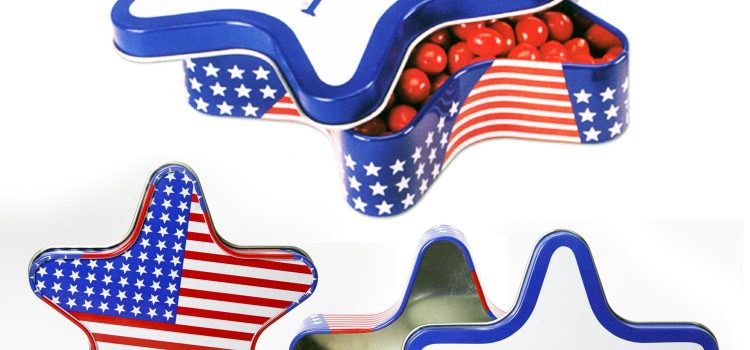 PATRIOTIC STAR SHAPE TINS LARGE